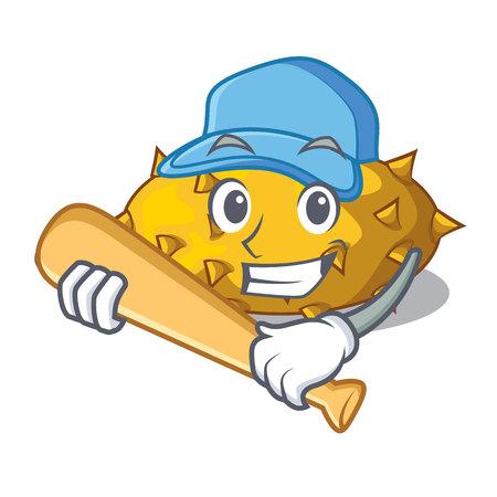 Playing baseball kiwano fruits on the cartoon table vector illustration