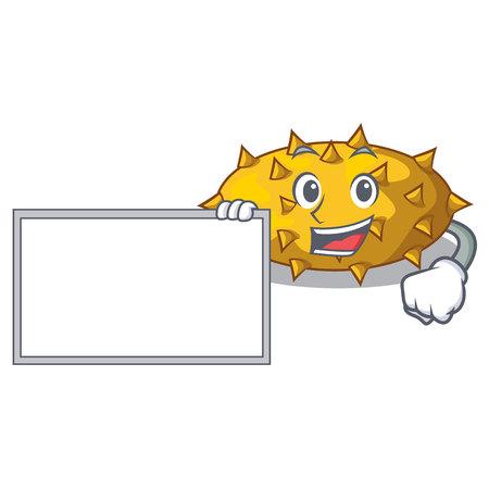With board kiwano fruits on the cartoon table vector illustration
