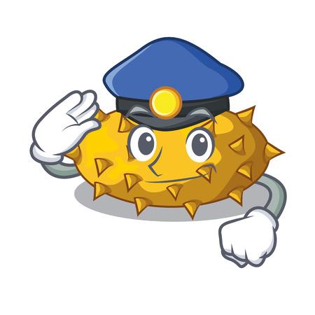 Police kiwano fruits on the cartoon table