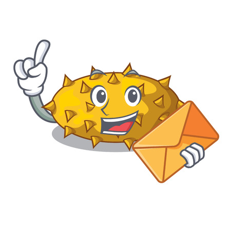 With envelope fruit Kiwano the isolated on mascot vector illustration