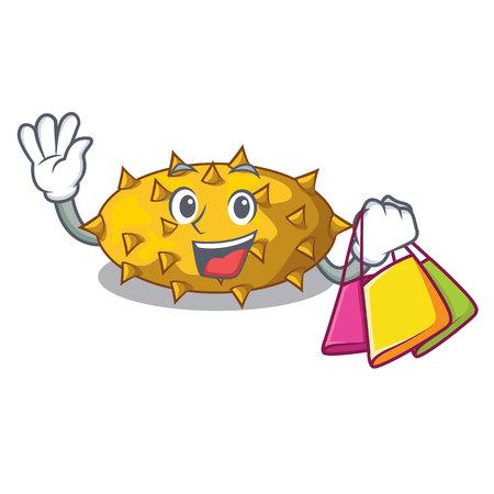 Shopping fruit Kiwano the isolated on mascot vector illustration Ilustración de vector
