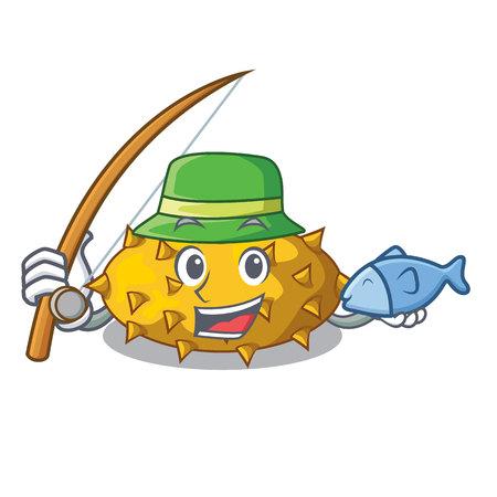 Fishing kiwano fruit in shape a cartoon vector illustration