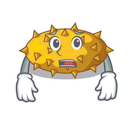 Afraid kiwano fruit in shape a cartoon vector illustration Illustration