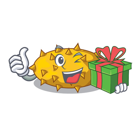 With gift kiwano fruit in shape a cartoon vector illustration
