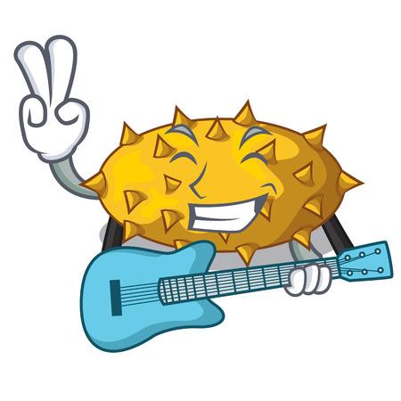 With guitar kiwano fruit in shape a cartoon vector illustration Illustration