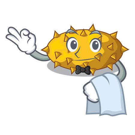 Waiter kiwano fruit in shape a cartoon vector illustration