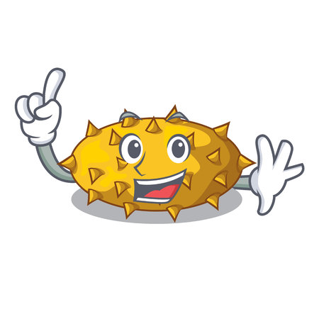 Finger Kiwano fruit isolated on a character vector illustration