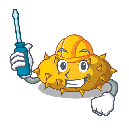Automotive Kiwano fruit isolated on a character vector illustration