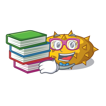 Student with book Kiwano fruit isolated on a character vector illustration Illustration