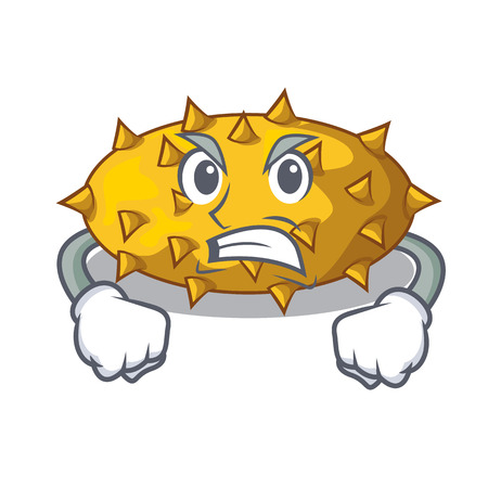 Angry kiwano fruit in shape a cartoon vector illustration Illustration