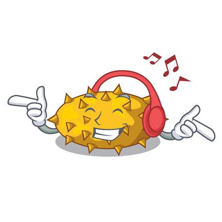 Listening music kiwano fruit in shape a cartoon vector illustration Illustration