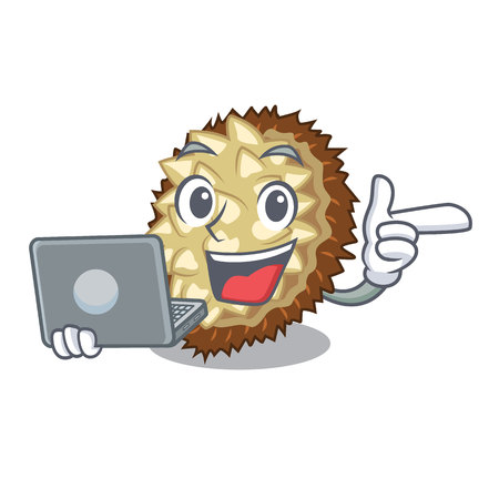 With laptop marang fruit isolated on a cartoon vector illustration Illustration