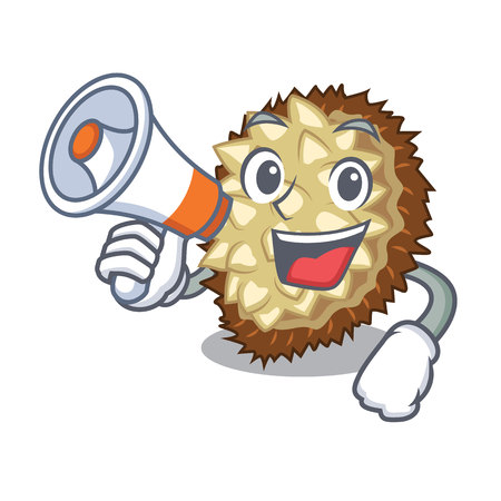 With megaphone marang fruit isolated on a cartoon vector illustration Illustration