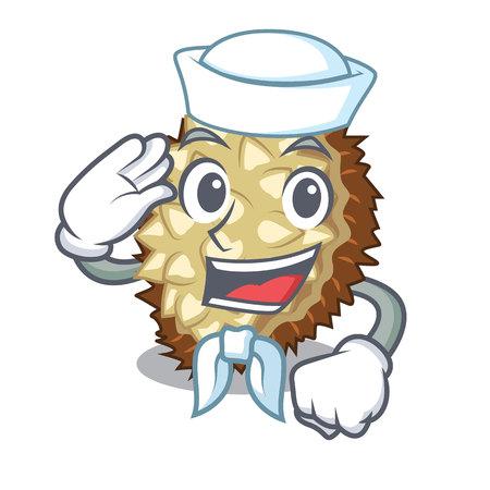 Sailor marang fruit isolated on a cartoon vector illustration