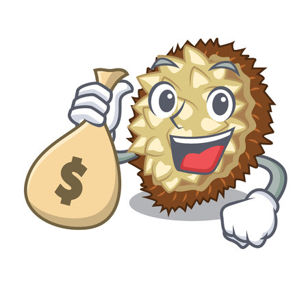 With money bag marang fruit isolated on a cartoon vector illustration Illustration