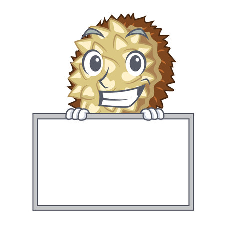 Grinning with board marang fruit isolated on a cartoon vector illustration