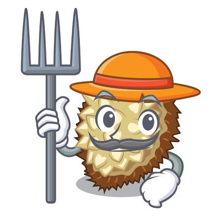 Farmer marang fruit isolated on a cartoon vector illustration