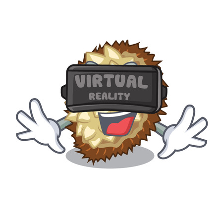 Virtual reality juicy marang fruit in glas character vector illustration
