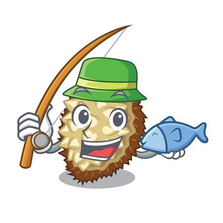 Fishing juicy marang fruit in glas character vector illustration