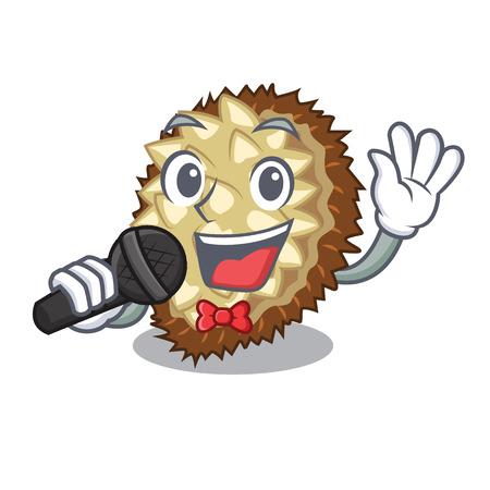 Singing juicy marang fruit in glas character vector illustration