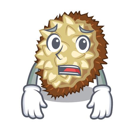 Afraid juicy marang fruit in glas character vector illustration