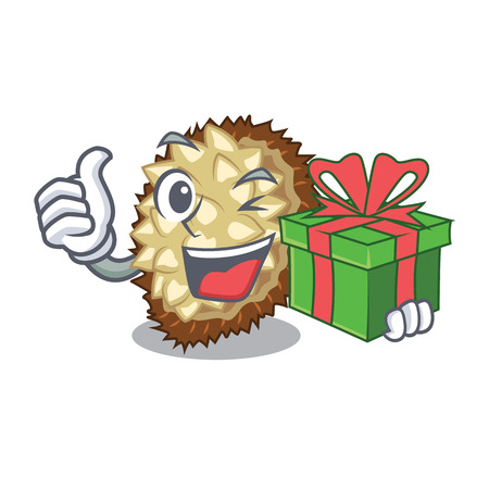 With gift juicy marang fruit in glas character vector illustration Stock Illustratie