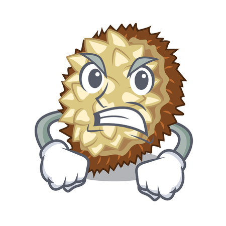 Angry juicy marang fruit in glas character vector illustration