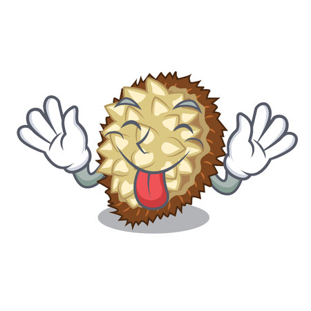 Tongue out fruit marang is located in mascot vector illustration