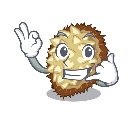 Call me fruit marang is located in mascot vector illustration
