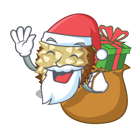 Santa with gift fruit marang is located in mascot vector illustration