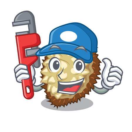 Plumber fruit marang is located in mascot vector illustration  イラスト・ベクター素材