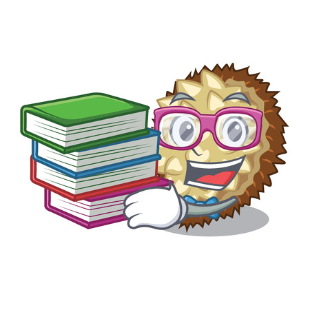 Student with book fruit marang is located in mascot vector illustration
