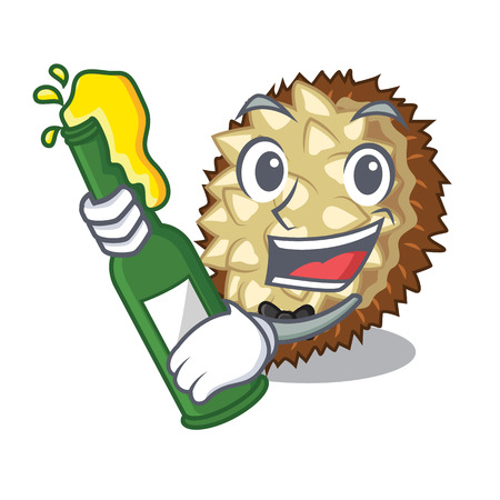 With beer fruit marang is located in mascot vector illustration