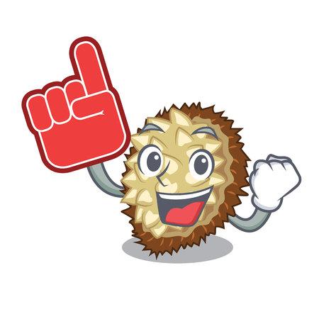 Foam finger fruit marang is located in mascot vector illustration