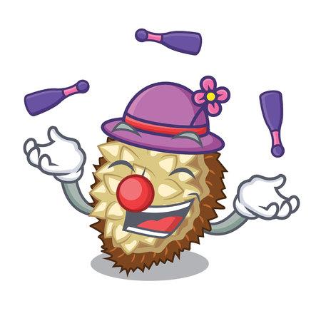 Juggling fruit marang is located in mascot vector illustration