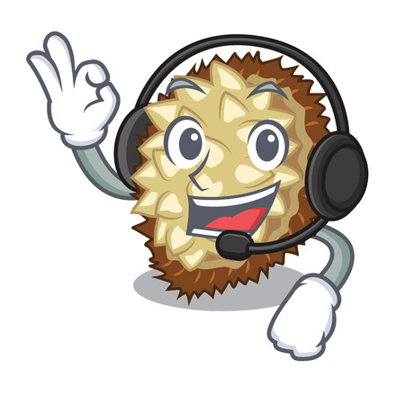 With headphone fruit marang is located in mascot vector illustration  イラスト・ベクター素材