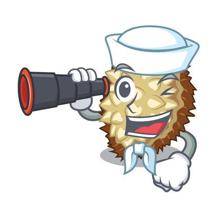 Sailor with binocular juicy marang fruit in glas character vector illustration
