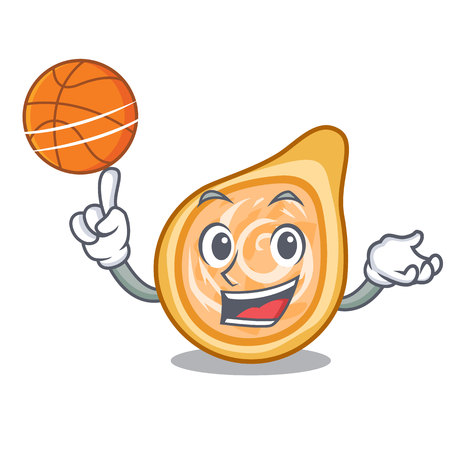 With basketball chicken coxinhas on the table cartoon vector illustration
