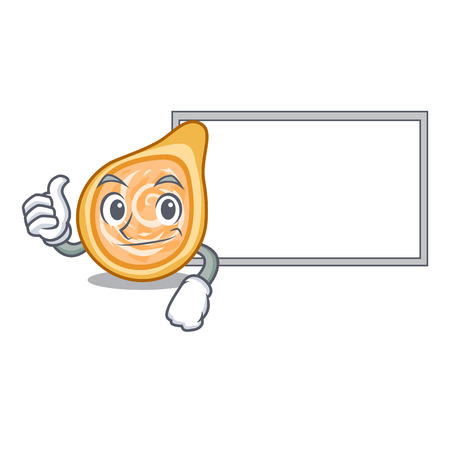 Thumbs up with board chicken coxinhas on the table cartoon vector illustration