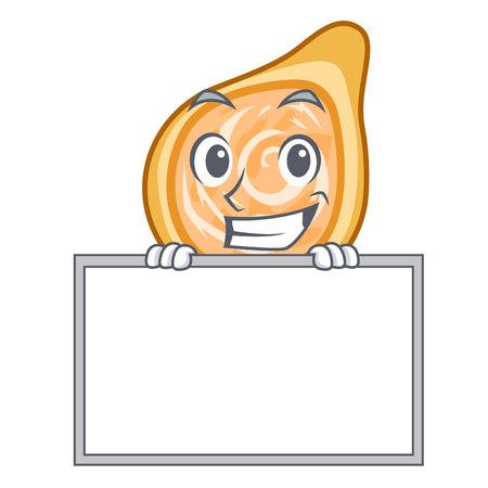 Grinning with board chicken coxinhas on the table cartoon vector illustration Ilustração