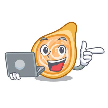 With laptop chicken coxinhas on the table cartoon vector illustration Illustration