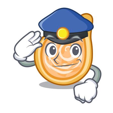 Police chicken coxinhas on the table cartoon vector illustration