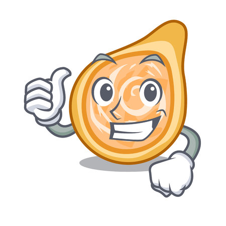 Thumbs up snacks coxinha on a character plates vector illustrartion Ilustração