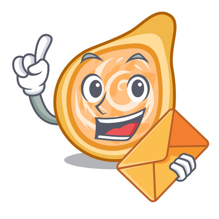 With envelope snacks coxinha on a character plates vector illustrartion