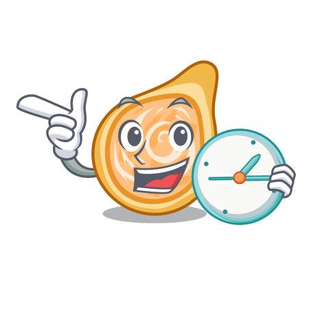 With clock snacks coxinha on a character plates vector illustrartion Ilustração