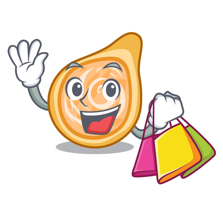 Shopping snacks coxinha on a character plates vector illustrartion