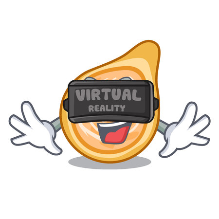 Virtual reality chicken coxinha isolated on a mascot vector illustration