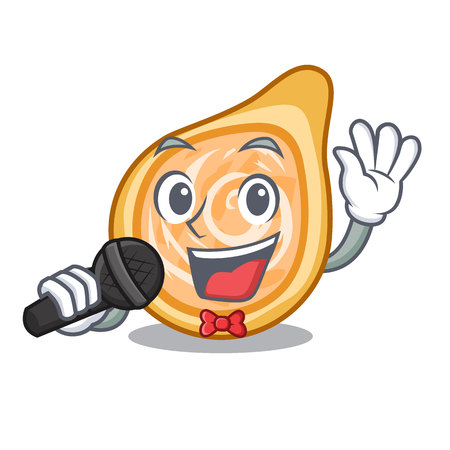 Singing chicken coxinha isolated on a mascot vector illustration Foto de archivo - 126726126