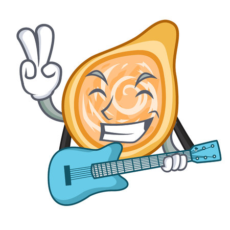 With guitar chicken coxinha isolated on a mascot vector illustration Foto de archivo - 126726137