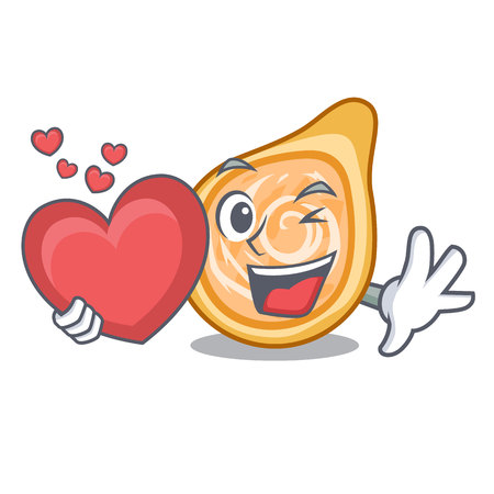 With heart chicken coxinha isolated on a mascot vector illustration Foto de archivo - 126726142